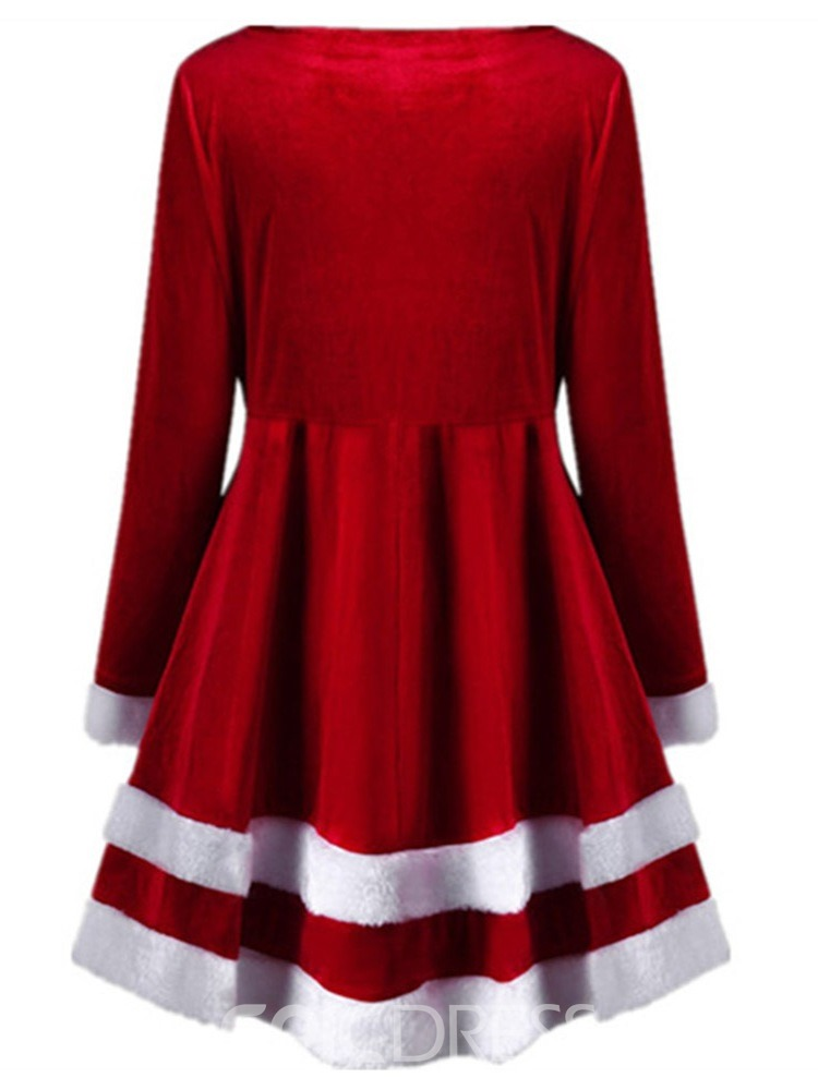 Ericdress Round Neck Christmas Patchwork Sweet High Waist Dress