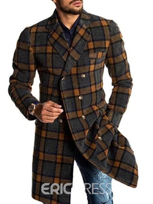 Ericdress Mid-Length Plaid Notched Lapel European Double-Breasted Coat