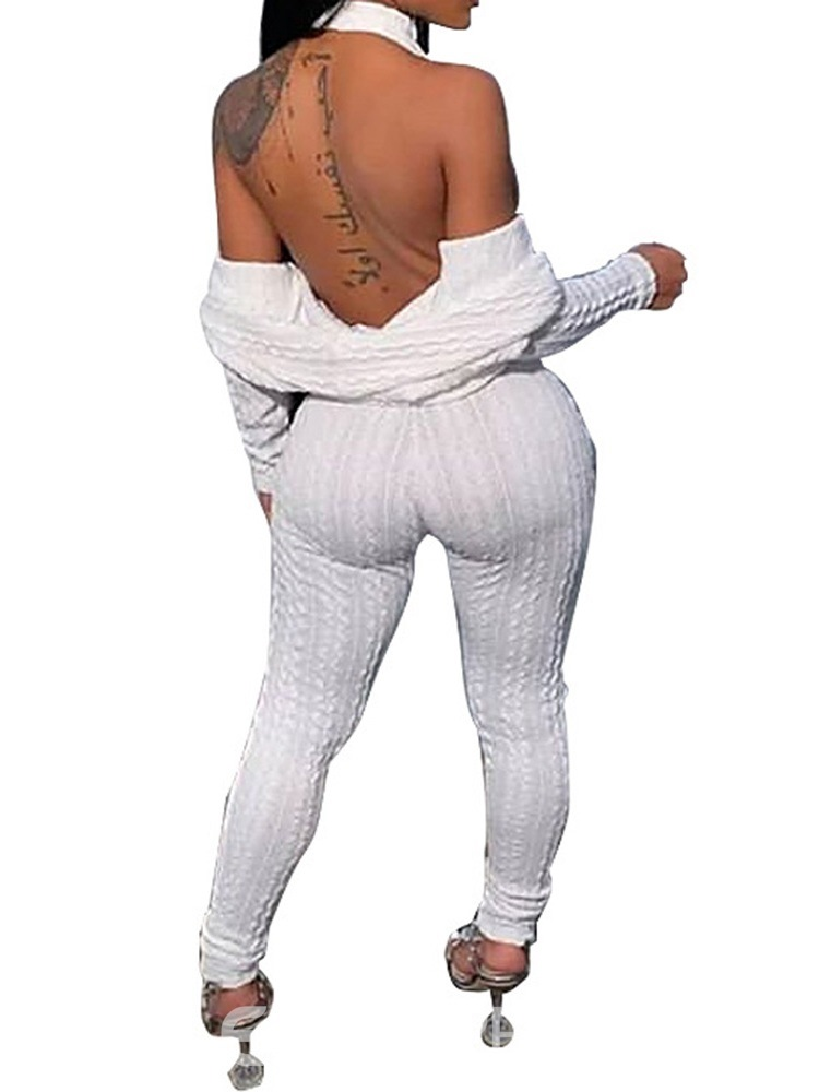 Ericdress Backless Sweater Fashion Pencil Pants Two Piece Sets
