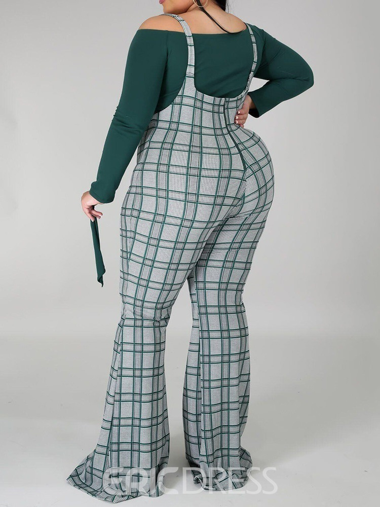 Ericdress Plaid Sexy T-Shirt Bellbottoms Two Piece Sets