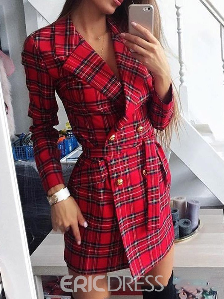 Ericdress Notched Lapel Above Knee Lace-Up A-Line Double-Breasted Dress