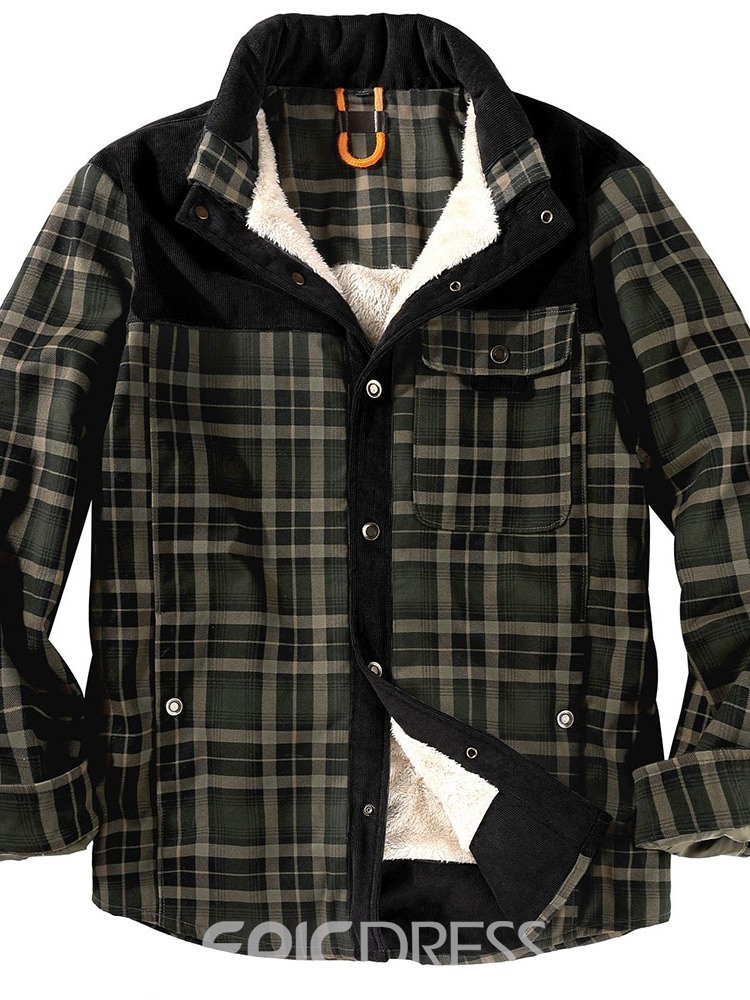 Ericdress Thick Plaid Patchwork European Winter Jacket