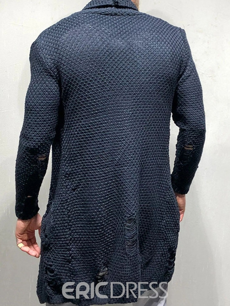 Ericdress Hole Lapel Mid-Length Loose Casual Men's Sweater