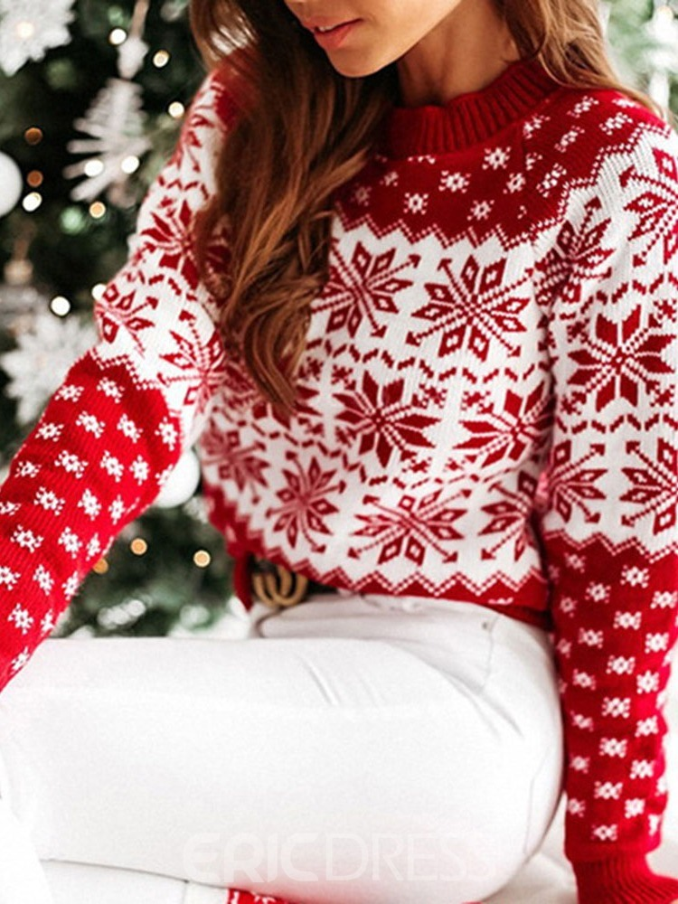 Ericdress Thin Regular Patchwork Round Neck Straight Christmas Sweater
