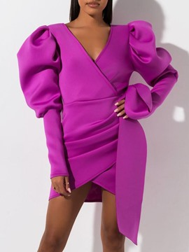 Ericdress Asymmetric Above Knee V-Neck Fall Pullover Dress