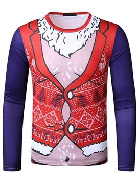 Ericdress Christmas Round Neck Print European Slim Pullover T-shirt