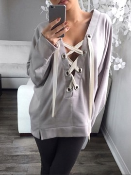 Ericdress Plain Regular Lace-Up Mid-Length Long Sleeve Hoodie