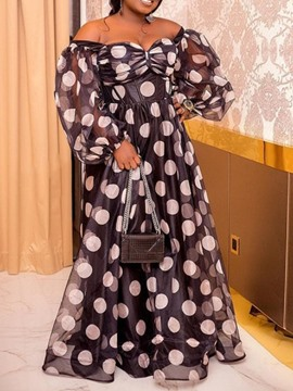 Ericdress Long Sleeve Print Floor-Length High Waist Polka Dots Dress