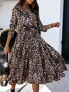 Ericdress Long Sleeve Print Lapel Expansion Regular Dress
