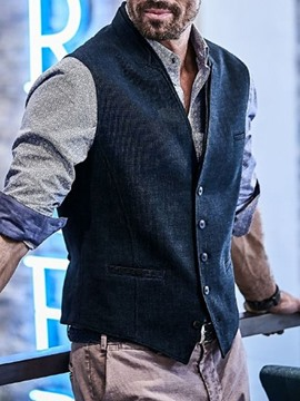 Ericdress Stripe Single-Breasted Fall Men's Waistcoat
