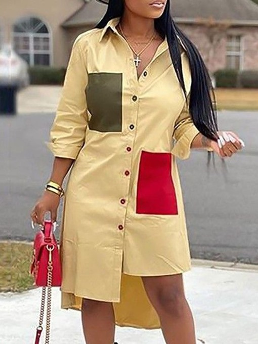 Ericdress Plus Size Mid-Calf Patchwork Long Sleeve Fall Color Block Dress