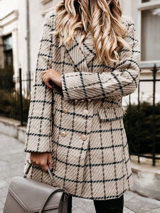Ericdress Notched Lapel Double-Breasted Plaid Mid-Length Regular Casual Blazer