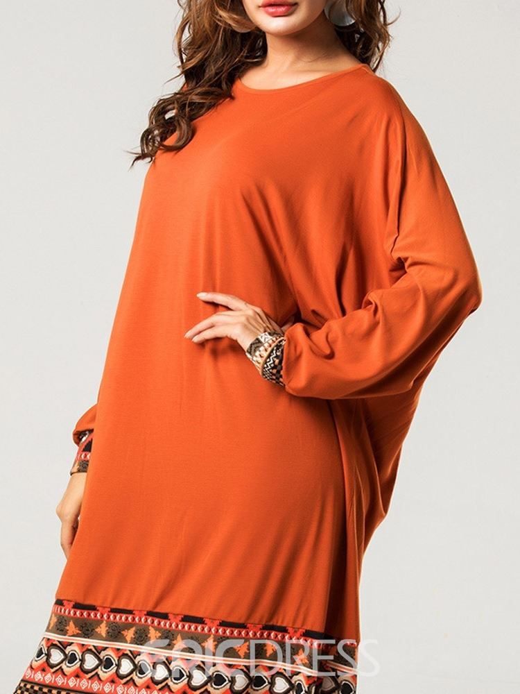 Ericdress Long Sleeve Round Neck Ankle-Length Casual Batwing Sleeve Dress