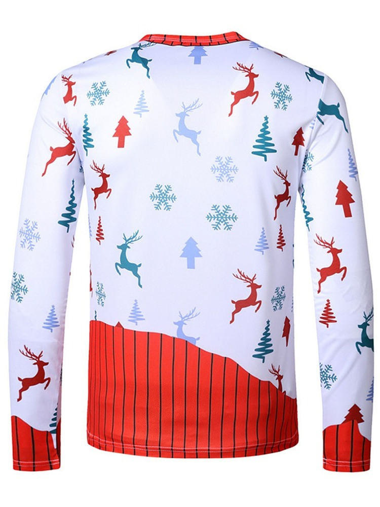 Ericdress Christmas Print European Round Neck Pullover Long Sleeve T-shirt