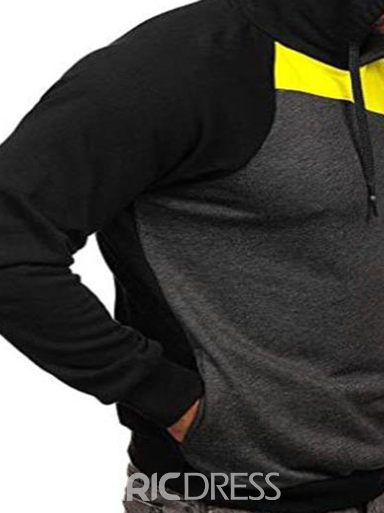 Ericdress Patchwork Pullover Color Block Fall Mne's Hoodies