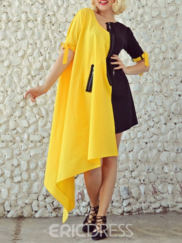 Ericdress Plus Size Lace-Up Ankle-Length Short Sleeve Pullover Fall Dress