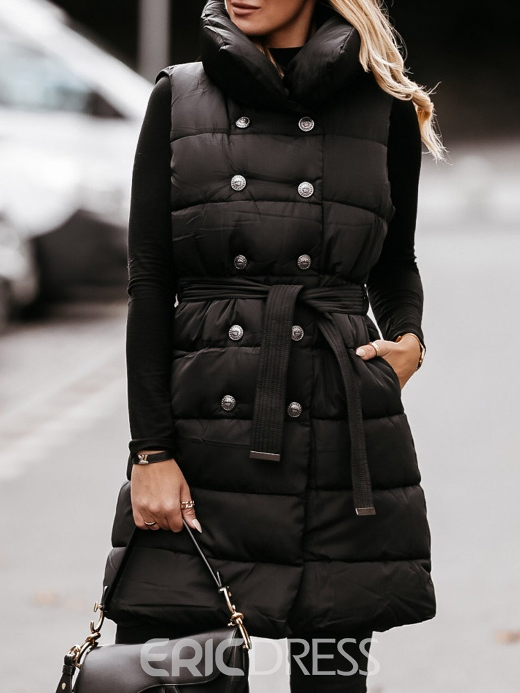 Ericdress Double-Breasted Straight Belt Mid-Length Cotton Padded Jacket