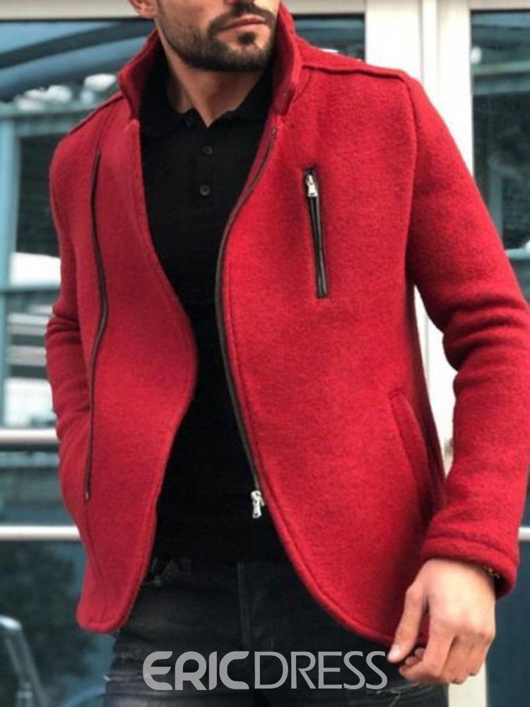 Ericdress Zipper Stand Collar Plain Men's Jacket