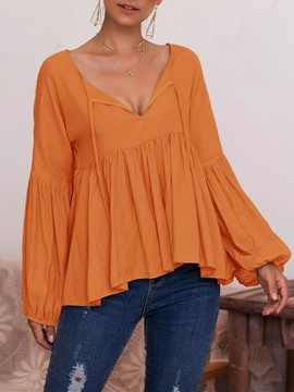 Ericdress V-Neck Long Sleeve Plain Ethnic Fall T-Shirt