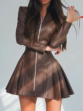 Ericdress Above Knee Long Sleeve Pleated Zipper Mid Waist Dress