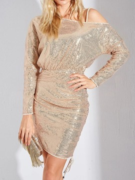 Ericdress Long Sleeve Above Knee Sequins Fall Regular Dress