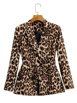 Ericdress Lace-Up Lapel Leopard Fall Office Lady Blazer