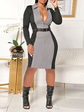 Ericdress Lapel Long Sleeve Belt Color Block Sexy Dress