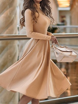 Ericdress Mid-Calf Long Sleeve Turtleneck Mid Waist Pullover Dress