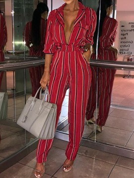 Ericdress Stripe Casual Pocket Loose Straight Jumpsuit