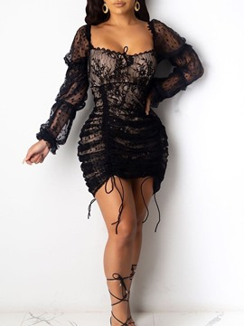 Ericdress Square Neck Lace Long Sleeve Sexy Floral Dress