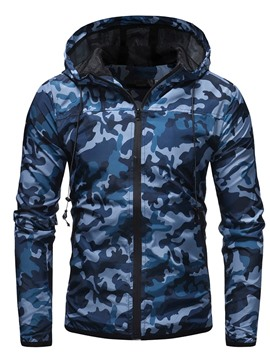 Ericdress Print Hooded Camouflage Casual Zipper Jacket