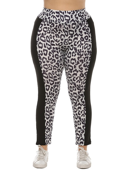 Ericdress Patchwork Casual Leopard Mid Waist Leggings