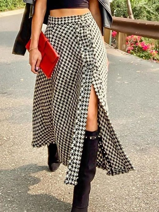 Ericdress Houndstooth A-Line Mid-Calf Fashion Skirt