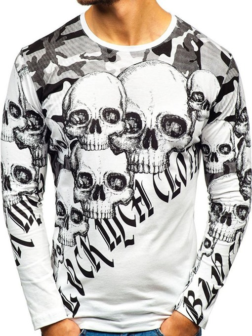 Ericdress Casual Skull Print Slim Lace-Up T-shirt