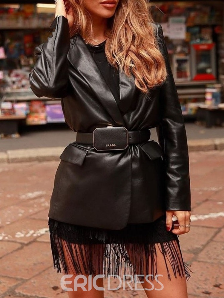 Ericdress Long Sleeve Above Knee Notched Lapel Fashion One Button Dress