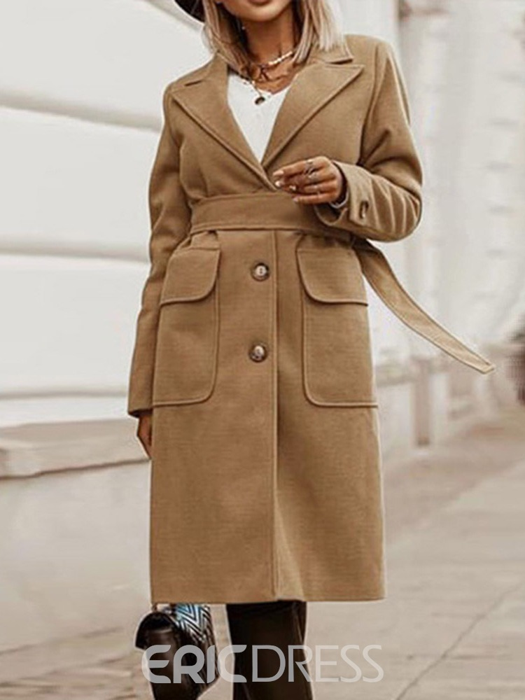Ericdress Slim Single-Breasted Button Lapel Mid-Length Overcoat