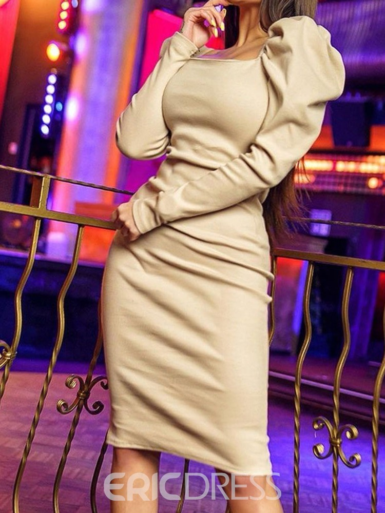 Ericdress Pleated Square Neck Long Sleeve Sexy Mid Waist Dress