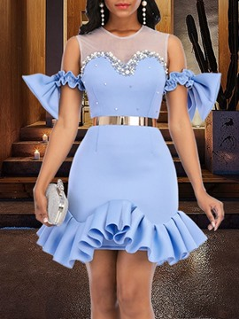 Ericdress Short Sleeve Bowknot Above Knee Mid Waist Mermaid Dress