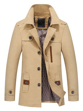 ericdress color block standard button fall lässiger trenchcoat