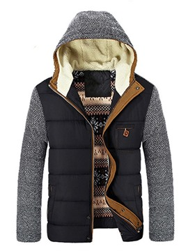 Ericdress Patchwork Standard Hooded Zipper Casual Down Jacket