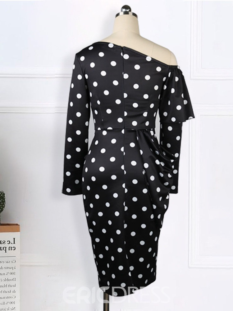 Ericdress Oblique Collar Mid-Calf Stringy Selvedge Polka Dots Regular Dress