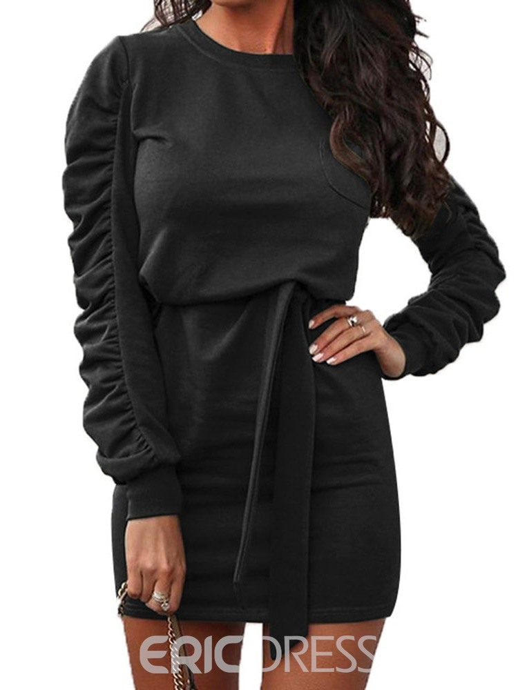 Ericdress Pleated Round Neck Above Knee Pullover Date Night/Going Out Dress