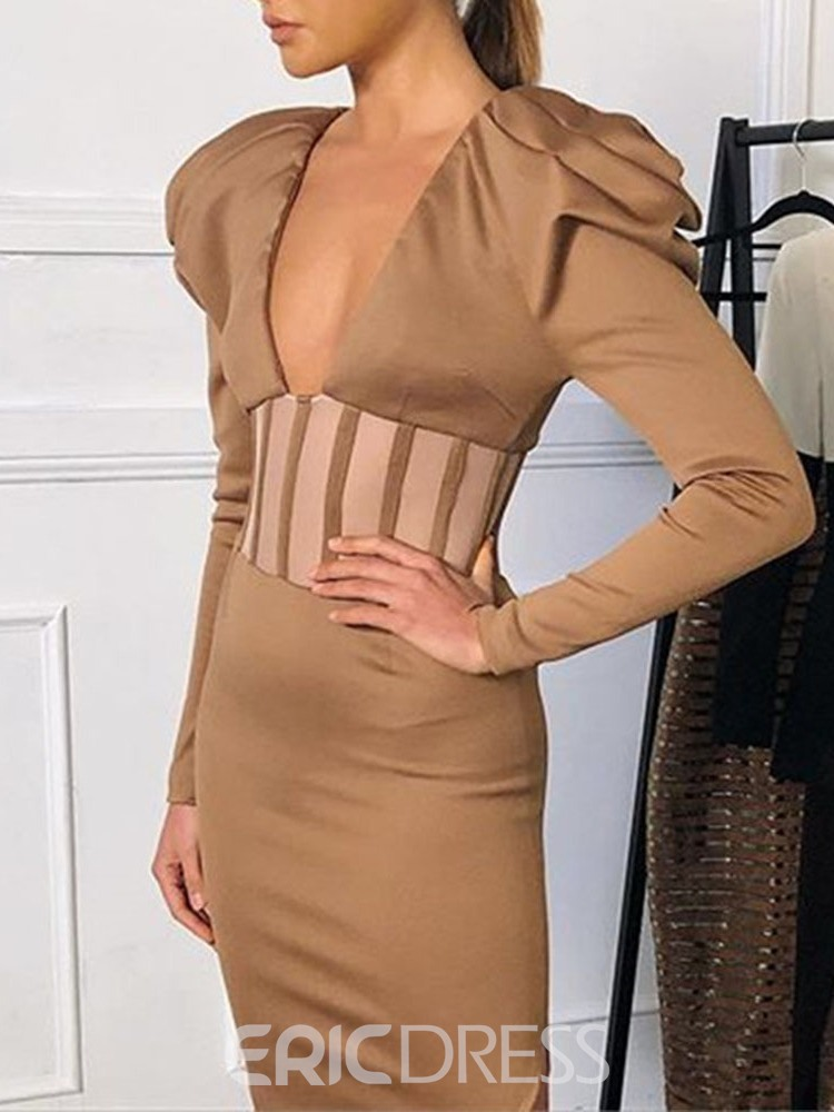 Ericdress Pleated Long Sleeve V-Neck Sexy Color Block Dress