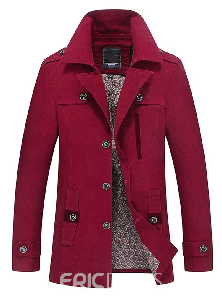 Ericdress Color Block Standard Button Fall Casual Trench Coat
