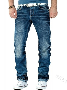 Ericdress Straight Worn Mid Waist Korean Men's Jeans