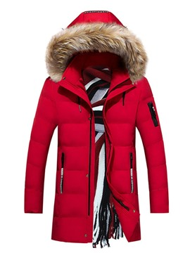 Ericdress Print Mid-Length Letter Zipper Casual Men's Down Jacket