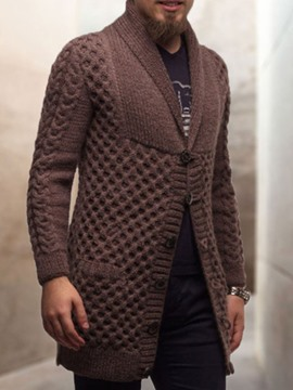 Ericdress Plain Mid-Length Lapel Fall Single-Breasted Men's Sweater