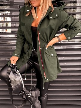 Ericdress Zipper Mid-Length Zipper Slim Long Sleeve Trench Coat