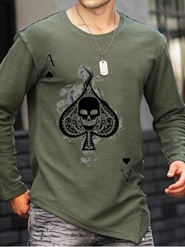 Ericdress Round Neck Print Skull Long Sleeve Pullover Men's T-shirt