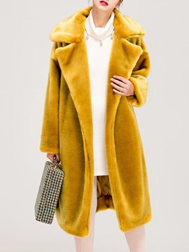 Ericdress Plain Long Lapel Fall Straight Faux Fur Overcoat